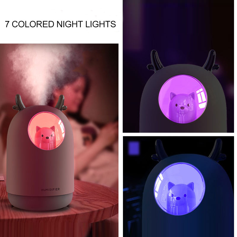 Image 3 - FDIK 300 ml Ultrasonic Air Humidifier usb Aroma Diffuser Humidificador Mini Cool Mist Cute Pet For Home Office 7 Color LED Lamp-in Humidifiers from Home Appliances