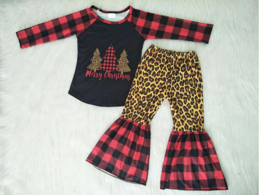 Clothing Christmas-Tree Boutique Red Plaid Leopard-Design Winter Long-Sleeved Pants-Set
