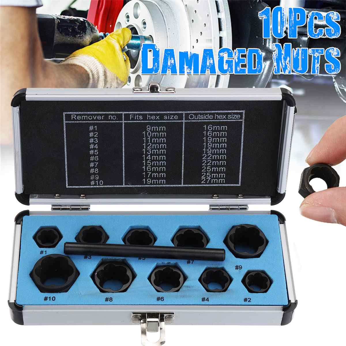 NEW 11pcs Damaged Nut Bolt Stud Extractor Tool Kit for Removal Damaged Nuts USA