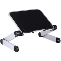 Foldable Reading Book Stand Aluminum Desk Computer Stand Ergonomic with Page Paper Clips for Bed Home