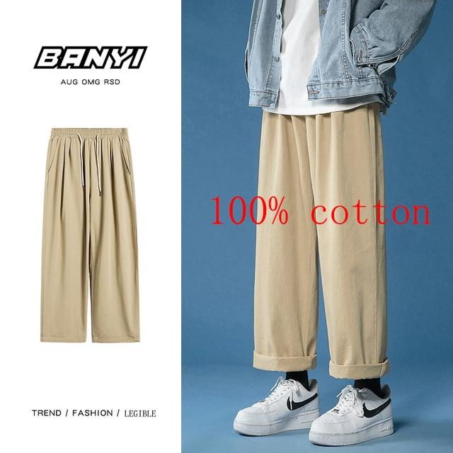 Legible 2021 Women Pant Casual Cotton Wide Leg Pants Retro Ankle Length Elastic Waist Loose Trousers Female 6