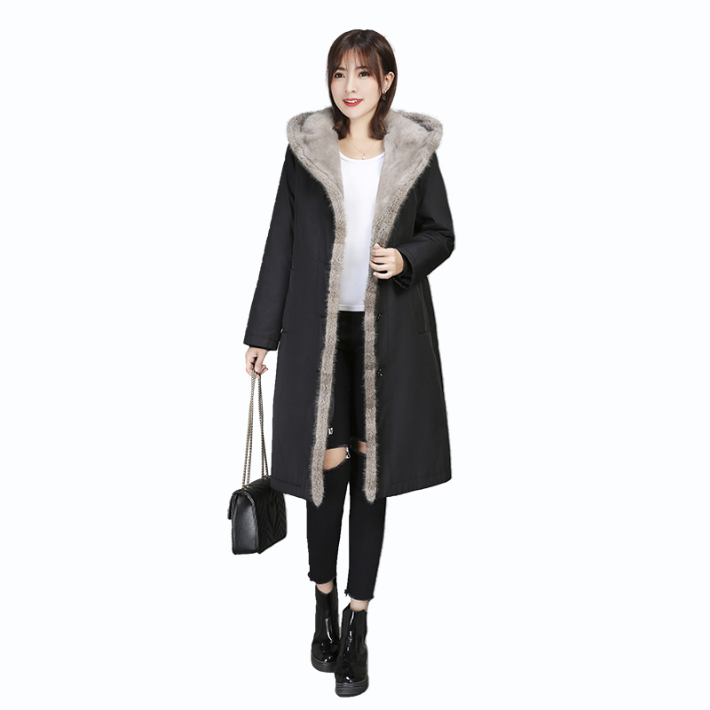 Winter Women's Coat Mink Fur Collar Hat Coat Real Fur Coat Mink Collar Rex Rabbit Liner Genuine Fur Jacket Mink Women's Parka