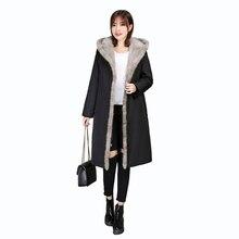Winter womens coat Mink fur collar hat real rex rabbit liner genuine jacket parka