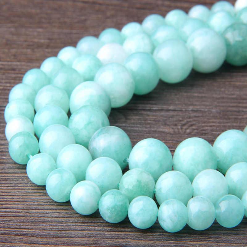 Natürliche Chalcedon Perlen 6 mm 8 mm 10 mm 12 mm Poliert Angelite Amazonites Perlen Für DIY Herstellung Von Schmuck Armband halskette