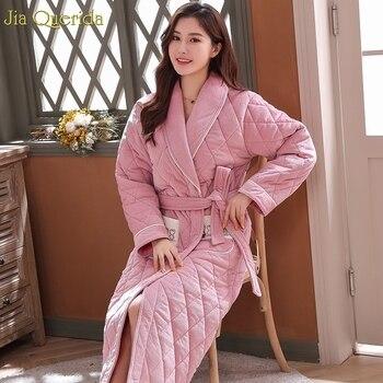 3 Layer Thick Velvet Fleece Padded Warm Long Robe Chic Pocket Belted Embossing Pattern Lovely Kimono Robe Winter Pink Night Robe