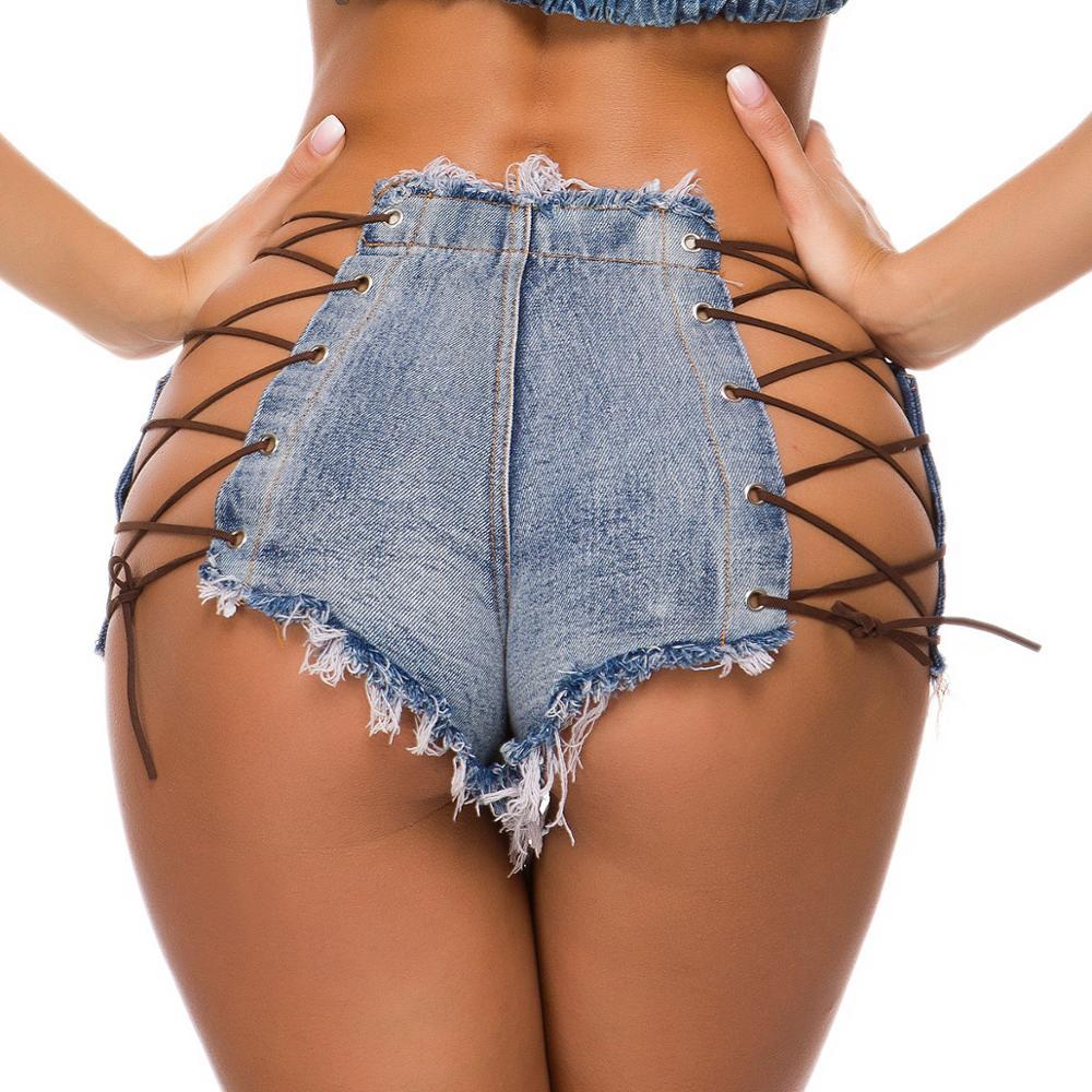 Womens Shorts Sexy Summer High Waist Super Black Denim Shorts Jeans Ribbons Mini Hot High Waisted Booty Club Ladies Party Shorts