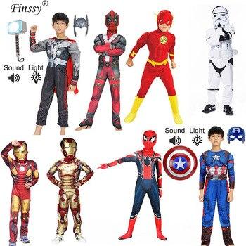 Disfraz de Capitán América Avengers para Cosplay, disfraz de chico con músculos, Araña, superhombre, Iron Man, Capitán, Mono para niños, Super mario, niños