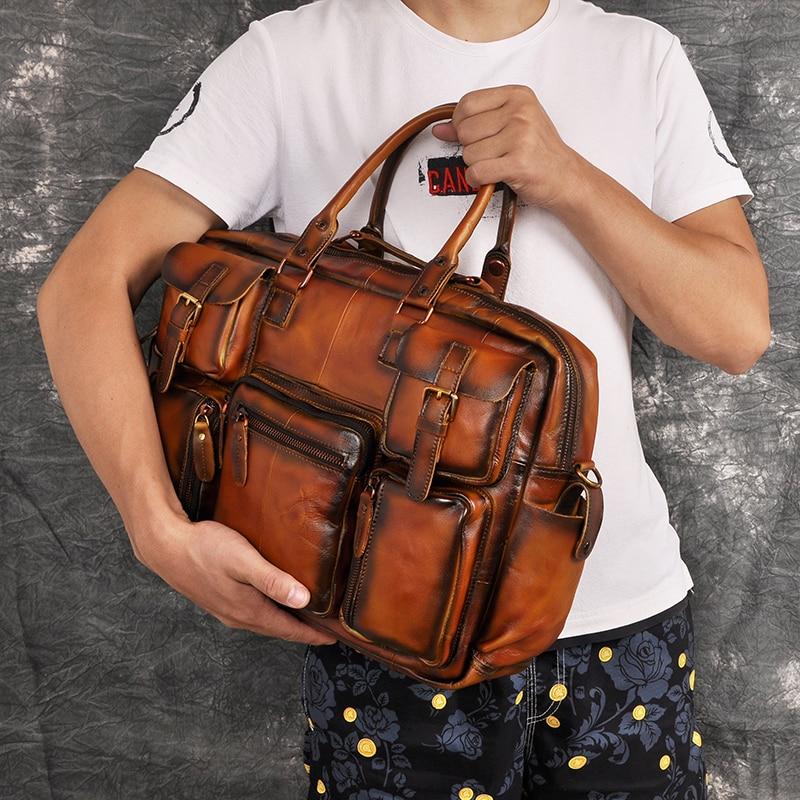 "H9c8d345d19de4f33a49a4b1030dc7278v Men Real Leather Antique Large Capacity Travel Briefcase Business 15.6"" Laptop Case Attache Messenger Bag Portfolio 3061-b"