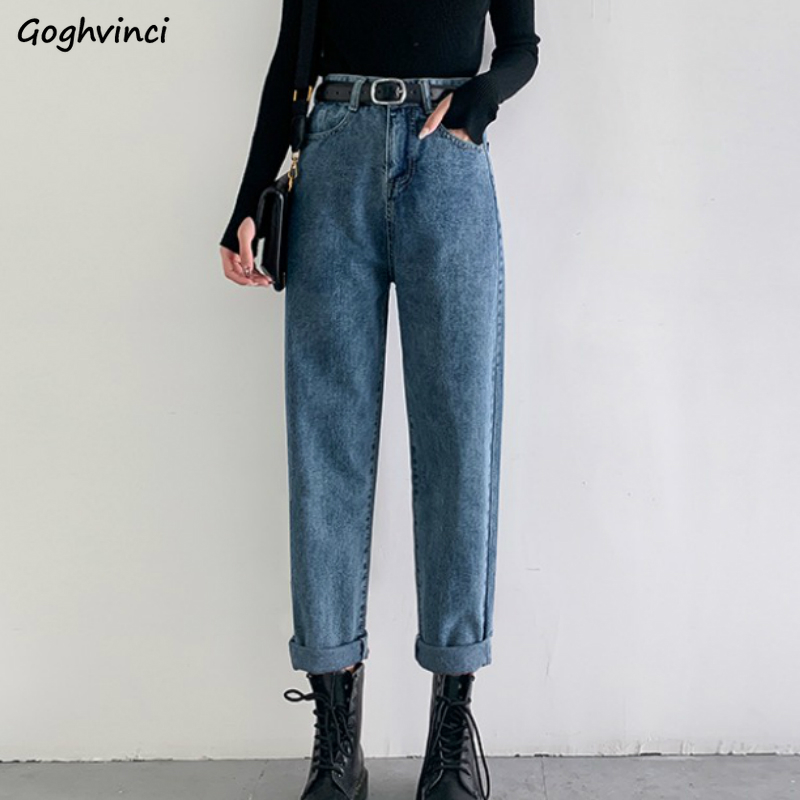 Jeans Women High Waist Ankle Length Oversize Retro Zipper Button Straight All-match Stylish Trendy Streetwear Solid Chic Womens