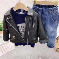 3PCS WLG boys clothing set kids autumn PU black coat blue sweater and jean set baby boy fashion clothes