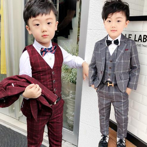 Winter Boys Suits Blazers grid Long Clothes For We