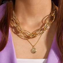 Женское винтажное ожерелье чокер lacteo с кулоном в виде монетки