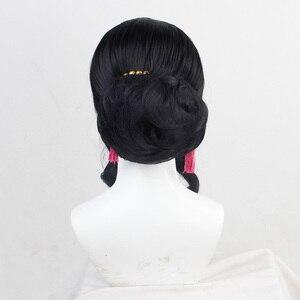 Image 4 - Demon Slayer, coiffure, Costume de Cosplay pour femmes noires Kimetsu No Yaiba Muzan, coiffure synthétique résistante à la chaleur + bonnet de perruque offert
