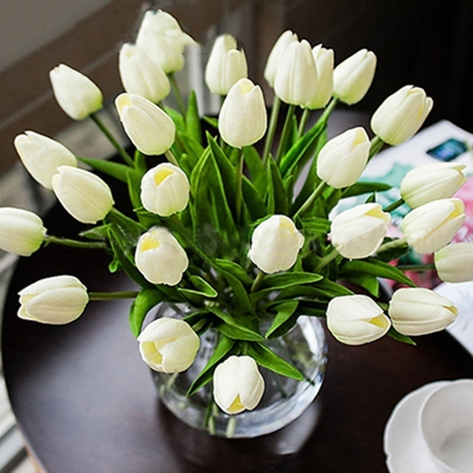 10pcs Fake Tulip Artificial Flower Bouquet PU For Home Decoration High Quality Handmade White Tulip Flowers Wedding Garden Decor title=