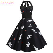 Bebovizi 2019 Vintage Halloween Dresses Woman Party Night Elegant Plus Size Black Dresses Casual Bat Print Sexy Halter Vestidos plus size halloween moon bat print hoodie with pocket