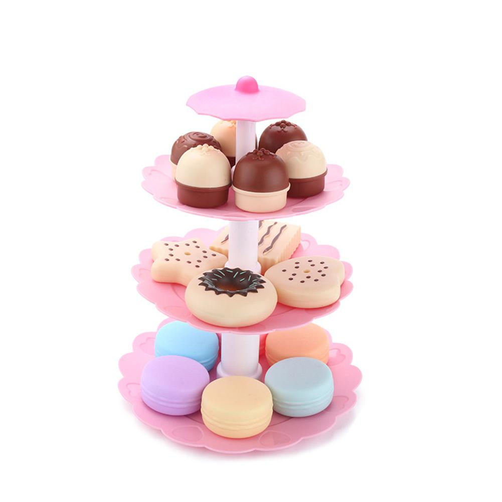 Cute 3-Tier Stacked Dessert Tower Simulation Cake Macarons Biscuits Toys Set For Kids