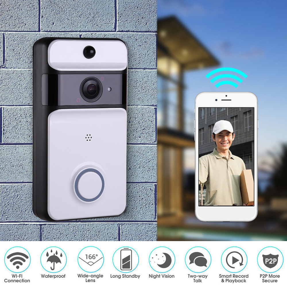 WirelessVideo Intercom Smart  WIFI Doorbell Ring Door Bell With Camera IR Entry Door Alert Home Security Video-eye For Door