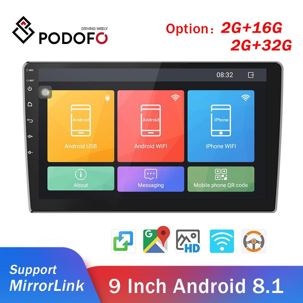 "Podofo 2din Car Radio Android Car Multimedia Player GPS Wifi 9"" 2 Din autoradio For Volkswagen Nissan Hyundai toyota CR-V Kia"