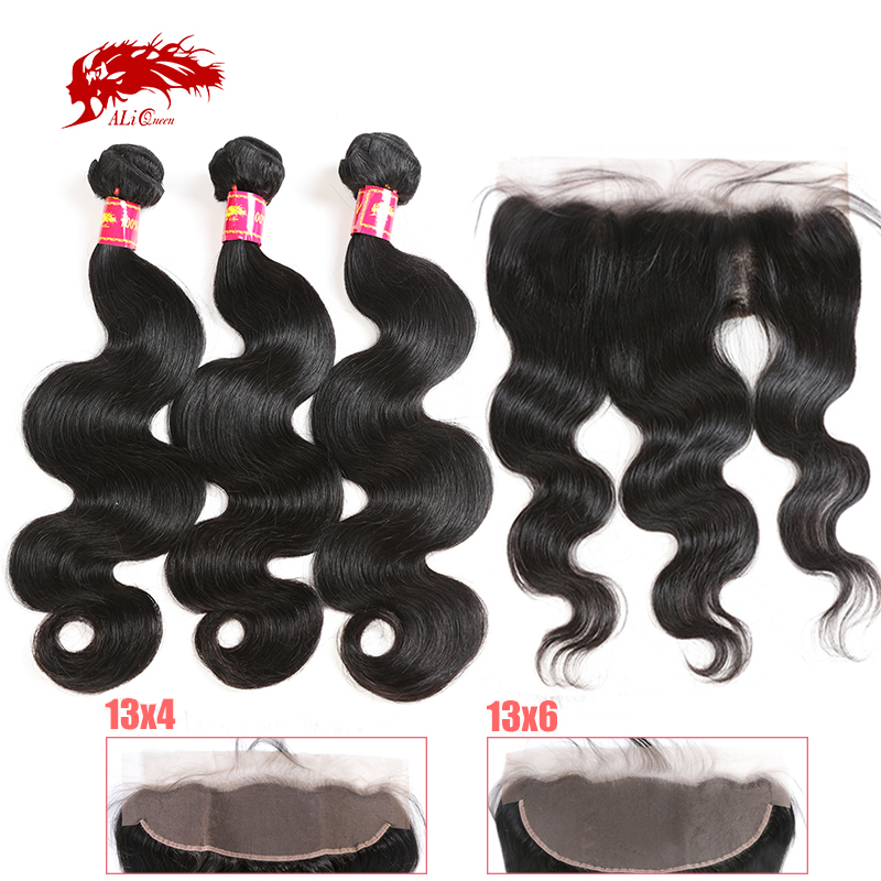 Ali Queen 3Pcs Hair Bundles With 13x4 13x6 Lace Frontal Brazilian Unprocessed Raw One-Donor Virgin Body Wave Double Drawn Human