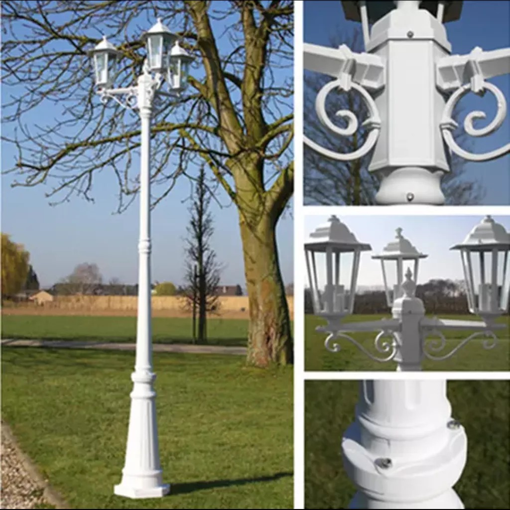 VidaXL Garden Light Post 3-Arms 215Cm White Aluminium Garden Decoration Landscape Post Street Lighting