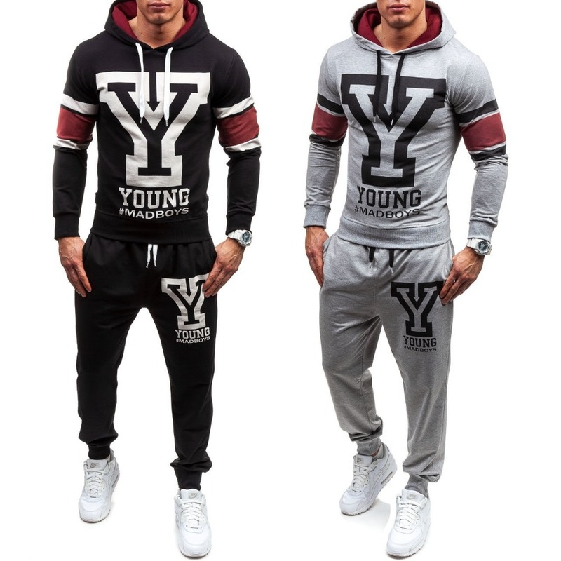 ZOGAA Spring Autumn Men's Sweatsuit Hoodies Pants 2 Pieces Sets Tracksuit Men Letter Print Sweatshirt Sweatpants Sportswear Suit