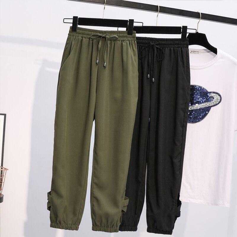 Trousers For Women  High Waist  Summer Plus Size Drawstring Loose Capris  Calf-length Female  Harem Pants