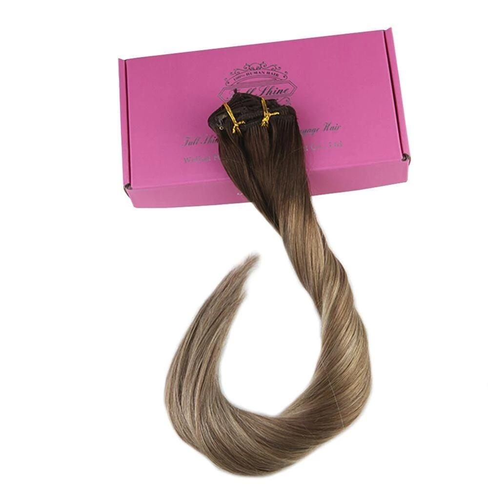 Lowest Price! Full Shine 7Pcs 100g Clip In Extensions Ombre Color #3/8/22 100% Remy Human Hair Clip In Dip Dyed Double Weft Hair