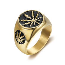Hip Hop Hemp Maple Leaf Ring Male Gold Color Stainless Steel Rings For Men Women Hiphop Jewelry Christmas Gift Dropshipping