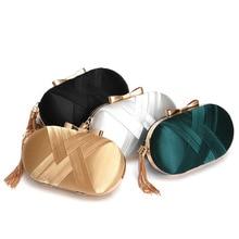 Fashion Imitation Silk Chain Women Clutch Handbag Elegant Tassel Hand-held Evening Bag Lady Handbag Chic Shoulder Messenger Bag