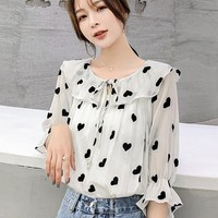 Nice Korean Women Black Heart Printing Chiffon Blouse Shirt Female Sweet Ruffles Lace Up Shirts Top Flare Sleeve Shirts