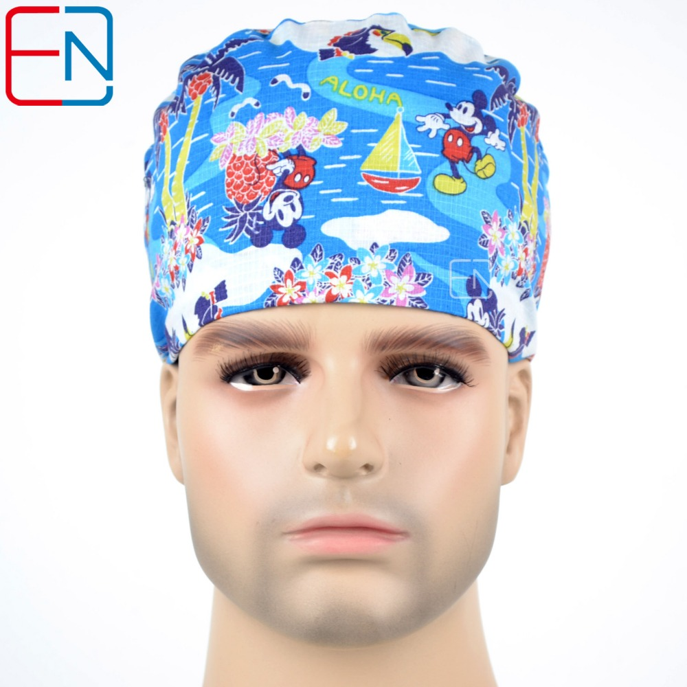 Hennar Surgical Scrub Caps Tie Back With Elastic Bands Medical Caps For Hospital Doctor Nurse Cotton Fabric Three Size Caps Mask