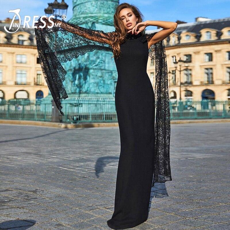 INDRESSME nouvelles femmes pansement élégant dentelle solide gaine O cou cape manches étage longueur moulante fête Club Sexy robe Vestidos