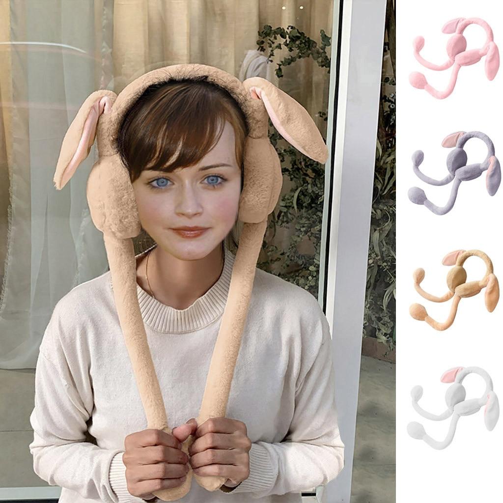 SAGACE Men And Women Plush Earmuffs Long Ears Will Move The Hat Rabbit Airbag Cap Outdoor Windproof Warm Cute Earmuffs