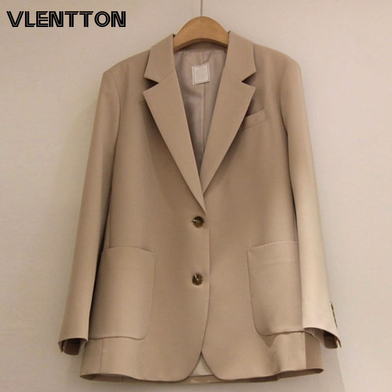 2020 Spring Autumn Vintage Women Blazers And Jackets Solid Button Loose Suit Coat Female Outwear Tops Office Blazer Feminino