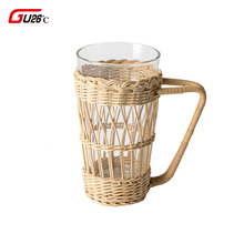 Ручной работы Ins ветер чистый ручной ротанга плетеные изделия корейский Набор чашек плетение чайник ручная отправка стеклянная чашка новинка подарок для вечерние