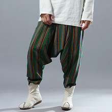 Льняные мужские мешковатые шаровары фестиваль хип-хоп Boho Alibaba шаровары кросс-брюки пустынные брюки повседневные брюки из льна мужская одежда