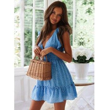 Летнее новое женское платье, модное сексуальное пляжное платье с v-образным вырезом и цветочным принтом в стиле бохо, короткое платье с оборками на талии 5