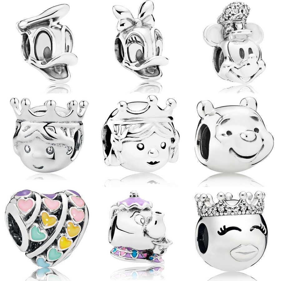 Toptan 925 ayar gümüş kalp boncuk su ısıtıcısı Mickey charm Fit pandora bilezik ördek portre prenses charm boncuk DIY takı