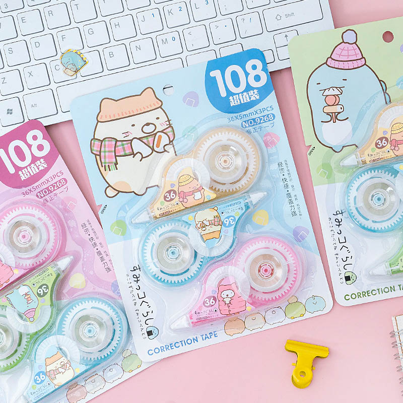 3Pcs/Set 5mm*3m Kawaii Sumikko Correction Tape Cute Cartoon Tapes School Writing Corrector Tool Office Supplies Stationery