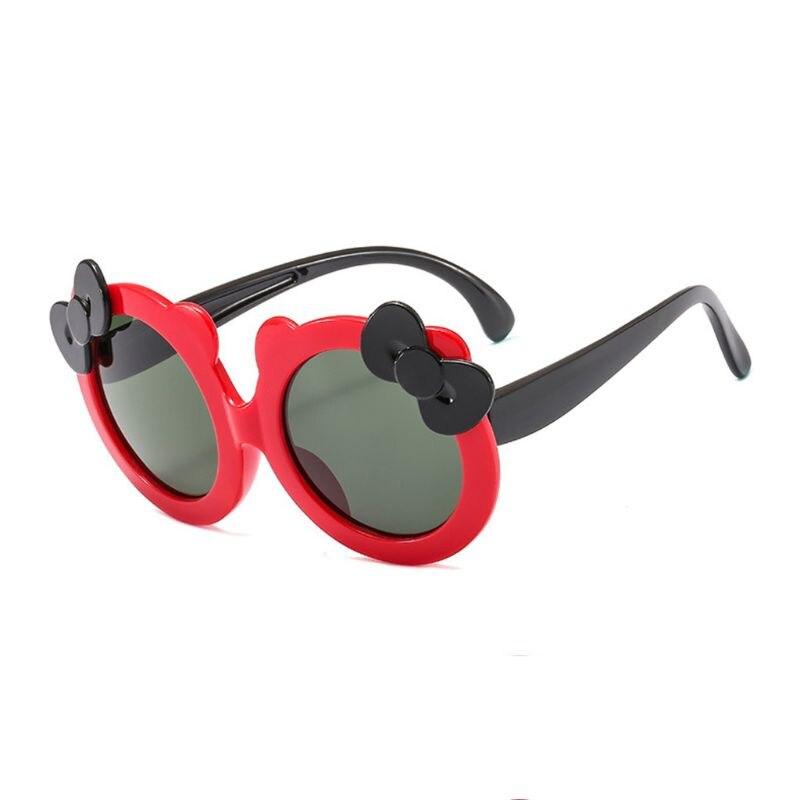 Детские поляризованные солнцезащитные очки для девочек, милые Солнцезащитные очки с бантом, силиконовые защитные очки UV400 - Цвет линз: R