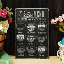 Винтажный металлический постер кафе меню настроение салон Оловянная