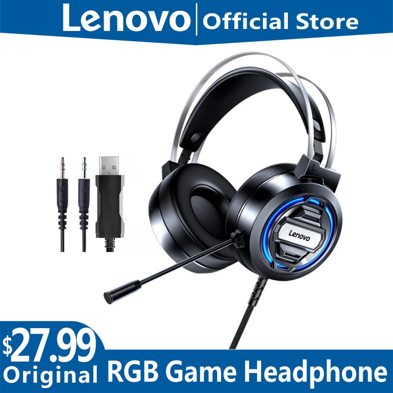 Original Lenovo H401 Gaming Headset 7.1 Stereo Surround Esports RGB Headphones with MIC for Laptop PC Gaming Overwatch PUGB Dota