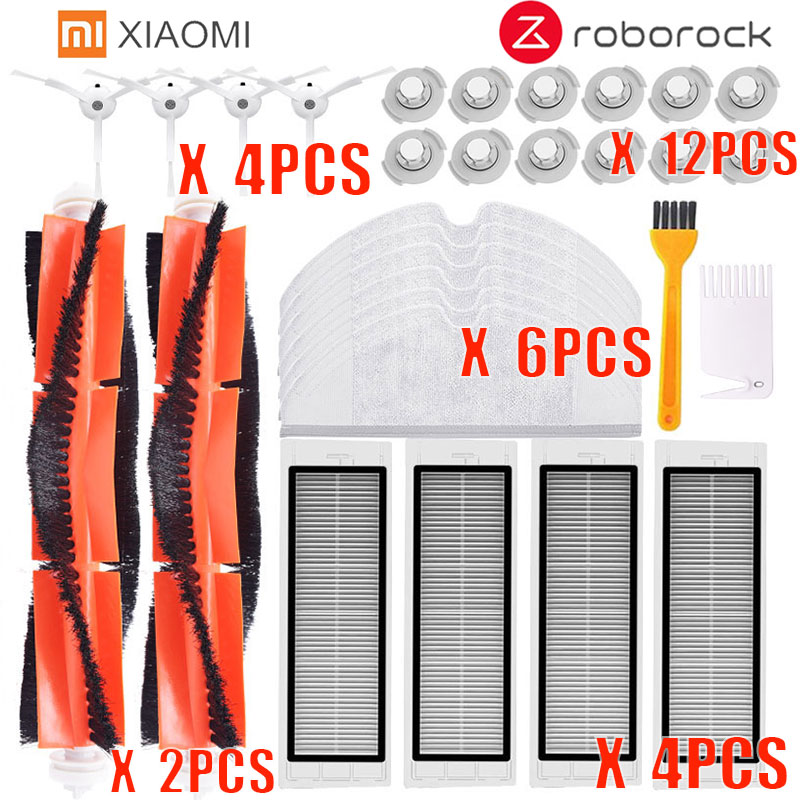 30pcs/lot New Main Brush Hepa Filter Side Brush Mop Cloths Kit For Xiaomi Mijia Robot Roborock S50 S51 Roborock 2