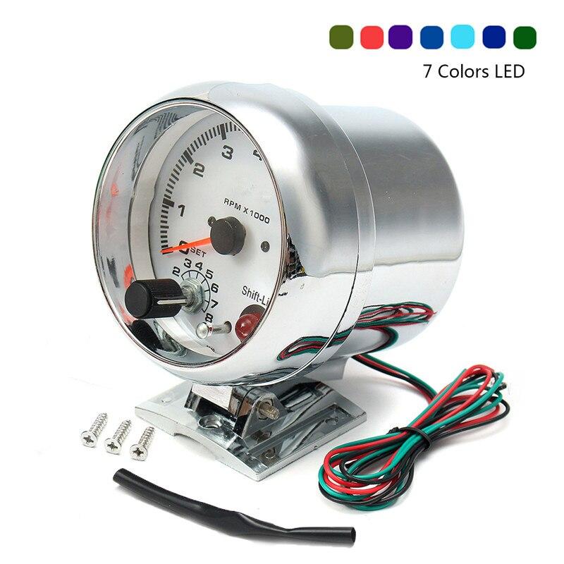 0 ~ 8000 tr/min 7 couleurs LED rétro-éclairage tachymètre jauge WhiteWorks sur 4 6 8 moteurs de cylindre universel convient au véhicule à essence 12V