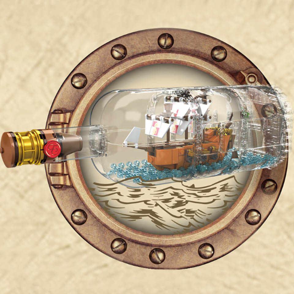 1078Pcs Luce Technic Idea La Nave Barca In UNA Bottiglia Compatibile legoinglys 21313 Building Blocks Giocattoli Dei Mattoni per I Bambini regalo