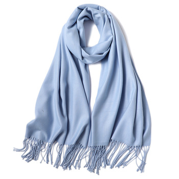 Thin Solid Long Cashmere Head Scarf Scarfs Accessories Apparels Autumn Spring Summer Winter Women