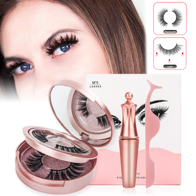 Magnetic False Eyelashes & Magnetic Liquid Eyeliner Set 5 Magnets Natural Fake Eyelashes Extension Waterproof Lasting Makeup Kit