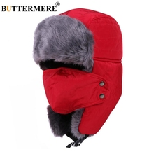 BUTTERMERE Men Bomber Hats Red Cotton Russian Hat With Earflap Biker Mask Thicker Warm Women'S Fur Caps Male Winter Ushanka Hats buttermere winter hats for men women ski mask warm thick bomber hat earflap russian ushanka hats climb male female trapper hat