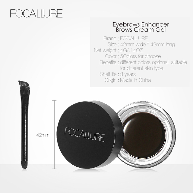 FOCALLURE Eyes Comestic Waterproof Eyebrow Gel Makeup Long Lasting Liquid Eyebrow Cream Eye Brow Makeup Set + Black Brush 5