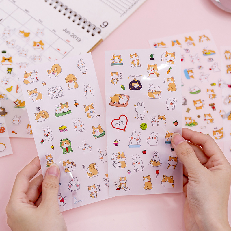 Cute Husky Corgi Pet Dog Bear Bullet Journal Decorative Washi Sticker Scrapbooking Stick Label Diary Stationery Album Stickers
